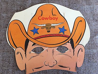 Vintage 1950s Litho COWBOY Cardboard Paper MASK Halloween,Party,Who Am I? Game