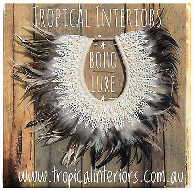 Tribal Indian Papuan Feather & Shell Necklace Home Wall Decor
