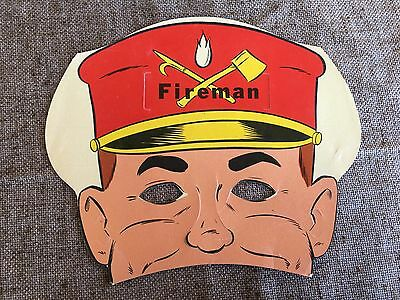 Vintage 1950s Litho FIREMAN Cardboard Paper MASK Halloween,Party,Who Am I? Game