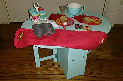 American Girl Baking Blue Table and Accessories Grace Cooking Cupcakes retired