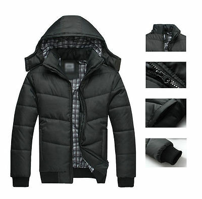 Men's Slim Casual Warm Jacket Hooded Winter Thick Coat Parka Hoodies Overcoat
