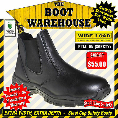 Wide Load Safety Work Boots, PULL ON STEEL CAP SAFETY. Extra Wide Comfort