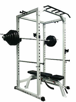 CYBERFIT LC2 Power Rack + 180KG Olympic Weight Set + Adjustable