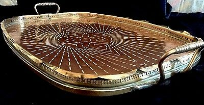 Antique Large Arts & Crafts Copper And Brass Galleried Serving Tray With Handles