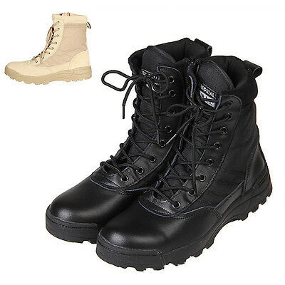 Mens Military Army Tactical Leather Combat Ankle Boots Work Desert Shoes Comfy