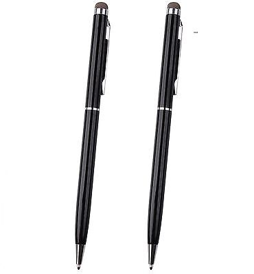 2 x BLACK PRO STYLUS WITH BALL POINT PEN MICRO-FIBRE TIP FOR IPHONE,IPAD,TABLET