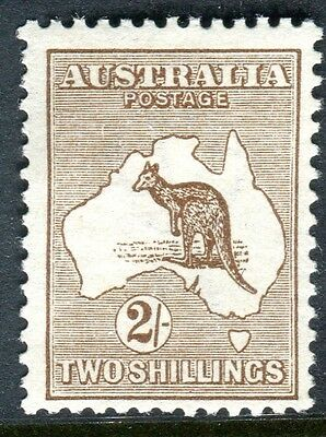 AUSTRALIA-1913 2/- Brown.  A mounted mint example Sg 12