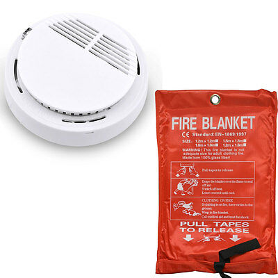Fire Blanket Home Kitchen Safe Quick Release Fight Protection,Smoke Detector