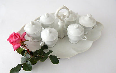 6 French Antique Porcelain Chocolate Pots on Server