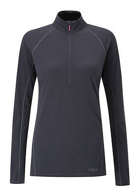 Rab Womens Merino+ 120 LS Zip - Ebony