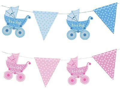 It's A Boy Girl Baby Shower Bunting Banner Garland Party Decorations Pink Blue