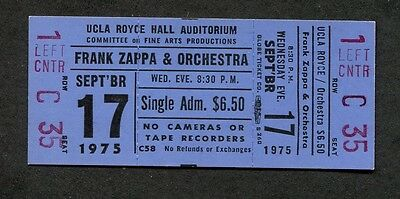 1975 Frank Zappa & The Mothers unused concert ticket UCLA Royce Hall Bongo Fury