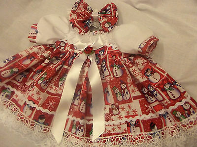 Dream Baby Xmas Snowman Fully Lined Dress & Hbd Nb 0-3 3-6 Months Or Reborn