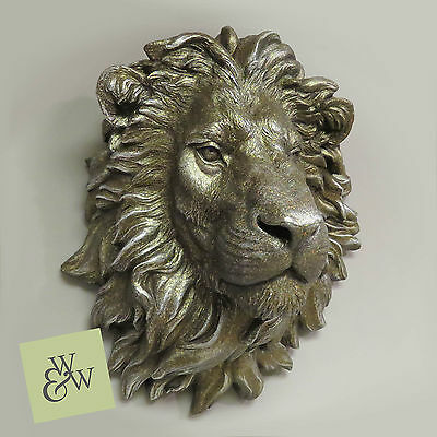 Large Lion Head Wall Mounted Bust Antique Bronzed Art Sculpture Feature Display