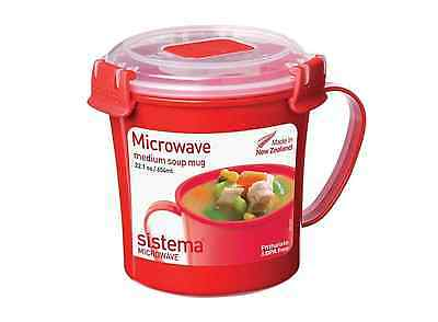 Sistema Microwave Soup Mug - 656 ml, Red/Clear