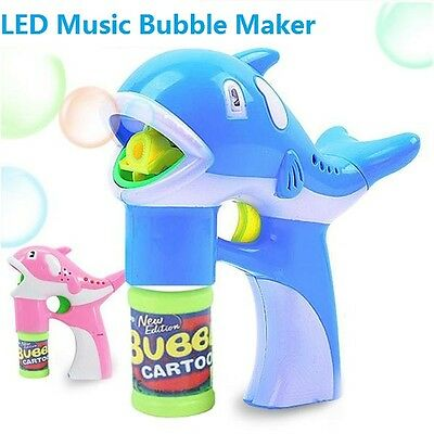 Dolphin Bubble Maker LED Music Lamp Box Birthday Gifts Toy for Children Kids