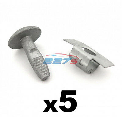 Peugeot Metal Engine Undertray Fasteners / Shield Clips- 5x Bolts & 5x Clasps