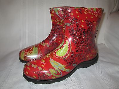SLOGGERS! Womens 10 Red Floral Paisley Rain Garden Shiny Waterproof Ankle Boots!