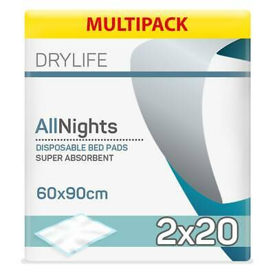 Drylife All Nights Disposable Bed Pads - 60cm x 90cm - 2 Packs of 20