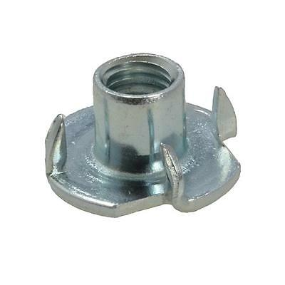"""Qty 30 Tee Nut 5/16"""" x 9mm BSW Zinc Plated 4 Prong T Nut Blind Timber Wood"""