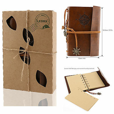 LEORX Vintage Faux Leather Cover Notebook Journal Diary Blank String Nautical