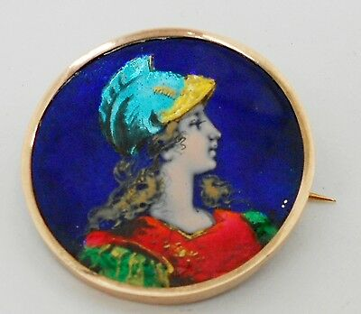 Antique Gorgeous French Low Gold And Enamel ¿limoges?  Athena Goddess Brooch