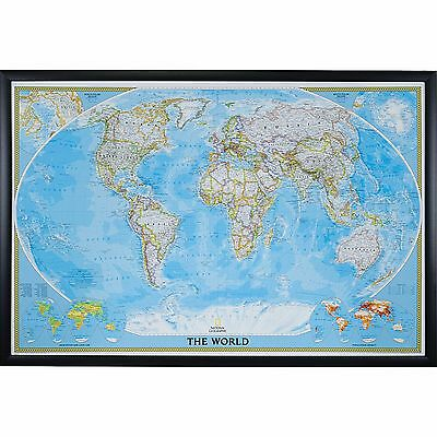 Craig Frames Classic World Push Pin Travel Map with Pins - 24 x 36