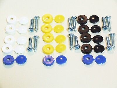 Cherished Number Plate Fixing Fitting Kit 12 Screws 15 Coloured Caps
