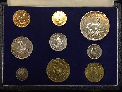 1963 South Africa 9 Coin Specimen Set Box With Silver & Gold