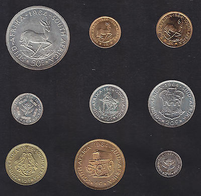 1964 South Africa 9 Coin Specimen Set Box With Silver & Gold