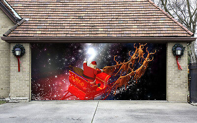 Christmas Garage Door Covers 3D Banners Outside House Decorations Billboard G42