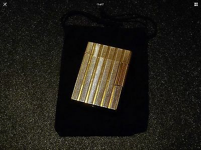 S T Dupont Line1 Small Gold Plated Lighter-Very Good Used Condition with Pouch