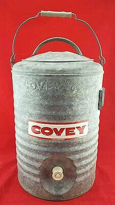 Vintage COVEY 5-Gallon Galvanized Metal Water Cooler w/ Spigot LID  RED HANDLE