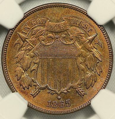 """Ngc Unc Details 1865 Two Cent Piece """"altered Color""""             (Bc04)"""