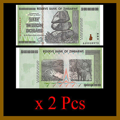 2 Pcs x Zimbabwe 50 Trillion Dollars, AA/2008 Cir = 100 Trillion Series