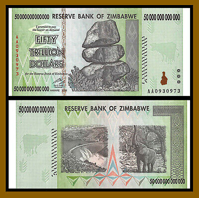 Zimbabwe 50 Trillion Dollars, AA/2008 Circulated,  100 Trillion Series