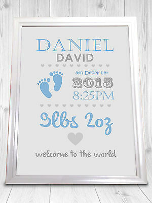 New Baby Birth Gift Personalised Print Nursery Decoration Baby Shower Present A4