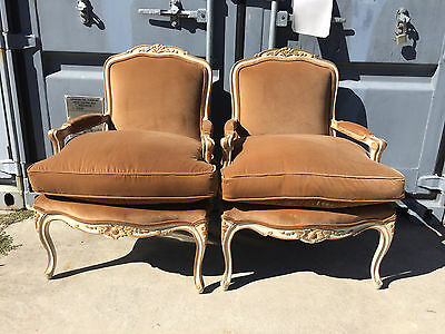 2 Gorgeous Large French Style Bergere Arm Chairs Provincial Painted Decorator +2