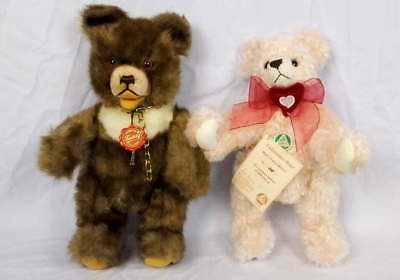 2 Hermann Teddy Bears LE Mohair Valentines #318/500 Brown White w/Tags