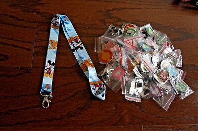 Disney World 25 Pin Trading Lot Lanyard Starter Set Mickey Blue with Pluto