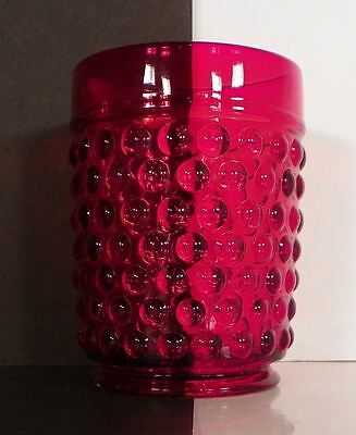 Red Glass Old Fashioned Tumbler Hobnail Pattern