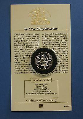 2011 Royal Mint 1/2oz 0.958 Silver Britannia £1 coin in Capsule with COA  (W5/7)