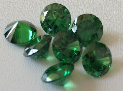 Emerald Green Round Cubic Zircon Loose Stones 2 -10mm CZ -USA -Wholesale-AAA