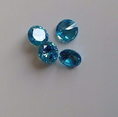 Light Blue Round Cubic Zircon Loose Stones 2-3-4-5 -6-8-10 CZ Lots USA - AAA
