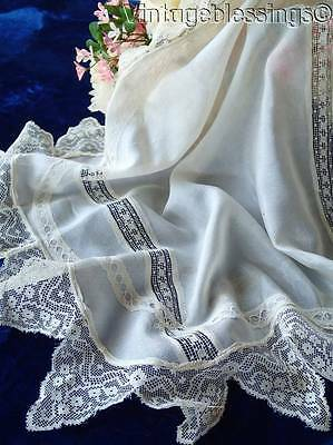 Antique Silk And Lace Bridal Handmade Handkerchief