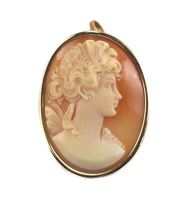 14k Yellow Gold Shell Cameo Brooch and / or Pendant, c1910