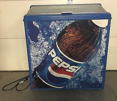 Pepsi Glass Door Merchandiser Store Display Refrigerator Mancave Works Nice