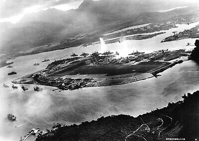 Pearl Harbor Attack-View from Japanese Aircraft Showing U.S. Ships Torpedod