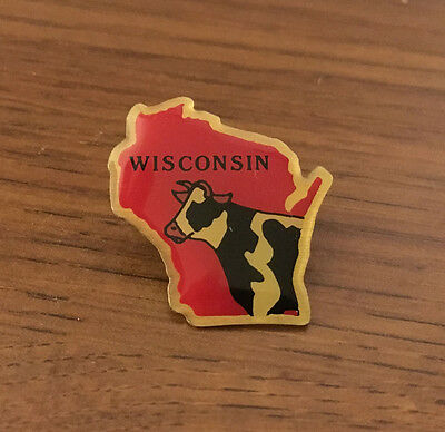 Wisconsin Shaped Fashion Pin with Cow