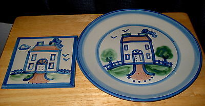 M A Hadley Country Scene House Diinner Plate and Tile Trivet